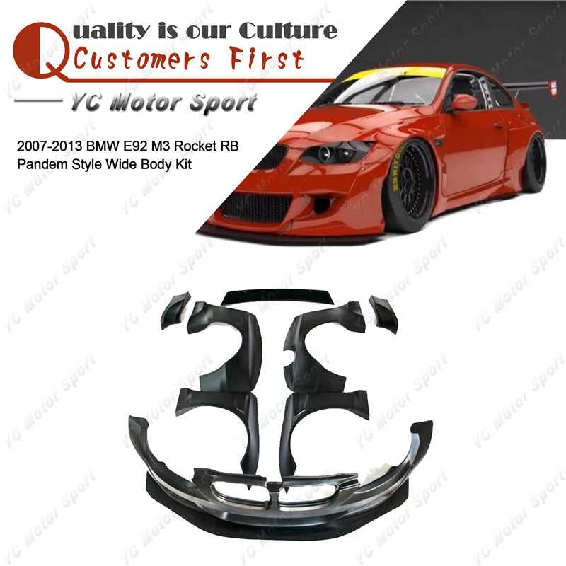 FRP Fiber Glass PD Style Bodykit Fit For 2007 2013 E92 M3  RB Body Kit Front Bumper Lip Fender Flare Spat Spoiler Wing-in Body Kits from Automobiles & Motorcycles on YCMOTORSPORT