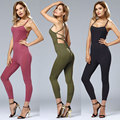 Lace Up Oco Out Backless Cabido Camisola Sem Mangas Calças Siameses Jumpsuit Sexy Criss Cross