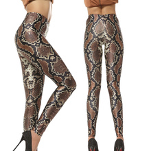 Snake Skin LeggingsGym Print Women Sexy Slim Fitness Leggings High Waist Elastic Causal Plus Size  Leggins