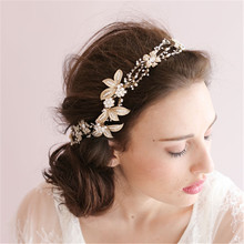Dower me Handmade Gold Crystal Pearl Bridal Headbands Headpiece Floral Wedding Hair Accessories Rhinestone Headband