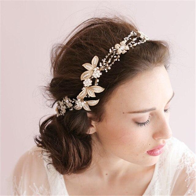 3dae88a460f Handmade Gold Crystal Pearl Bridal Headbands Headpiece Floral Wedding Hair  Accessories Rhinestone Headband
