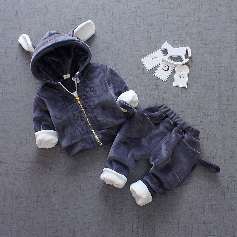 Baby Outfits zipper long sleeve boys hooded coat+Pant Children outwear Kids Sets embroidered thick sport Suit with ear colorvalue winter double zipper running jacket women hooded fitness coat long sleeve sport yoga coat with pocket and thumb holes