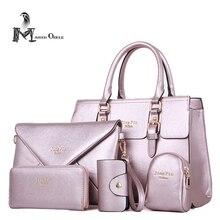 Metálico bolso de lujo bolso de las mujeres fijó 5 unidades set bolsa de diseñador oro metálico bolso del bolso con la cartera