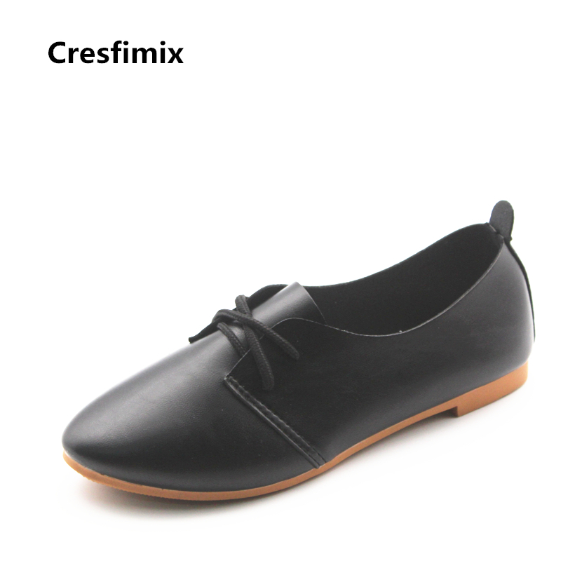 Cresfimix zapatos de mujer women casual lace up black flat shoes female pinted toe soft pu leather shoes lady comfortable shoes cresfimix zapatos de mujer women fashion pu leather slip on flat shoes female soft and comfortable black loafers lady shoes