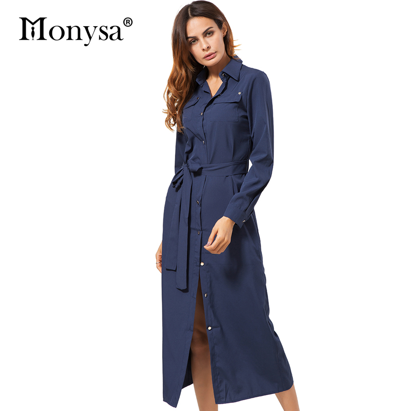 Long shirt dress women autumn 2017 new fashion collar long Women s long sleeve shirt dress
