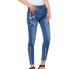 2017 summer pants women casual embroidered denim pants female jeans woman pencil high waist jeans whitish