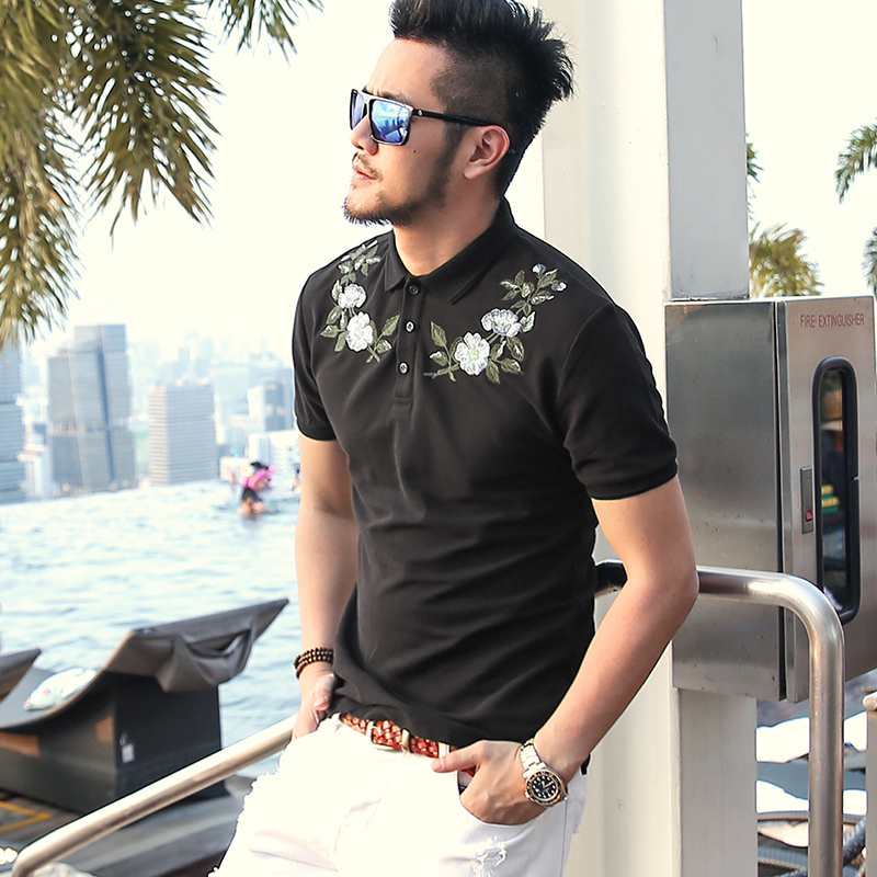 Summer Wear New Black Flower Embroidery Men's Lapel Short Sleeve   Polo   Shirt Men Slim Cotton Casual Breathable Brand   Polos   PL-57