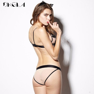 Image 2 - 2020 New Hollow Out Sexy Underwear Women Bra Set Luxury Seamless Brassiere Brand Transparent Bras Lace Lingerie Set Embroidery
