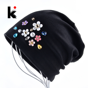 New Beanies Women Spring Autumn Solid Color Skullies Hat For Ladies Rhinestone Pearl Flower Cap Female Fashion Bonnet Gorra 1