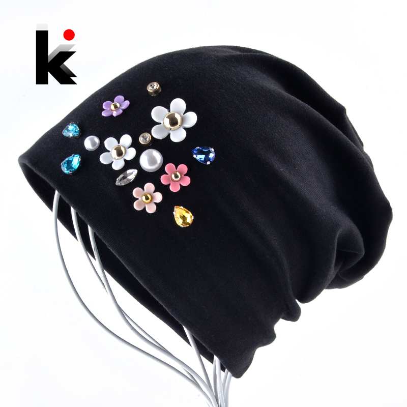 New   Beanies   Women Spring Autumn Solid Color   Skullies   Hat For Ladies Rhinestone Pearl Flower Cap Female Fashion Bonnet Gorra