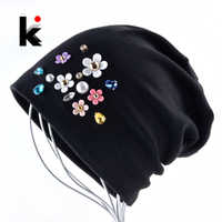 Nouveau bonnets femmes printemps automne couleur unie Skullies chapeau pour dames strass perle fleur Cap femme mode Bonnet Gorra