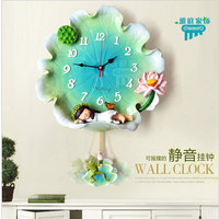 Continental lotus angel creative wall clock living bedroom wall clock pastoral children's room Decorative bell mute personality