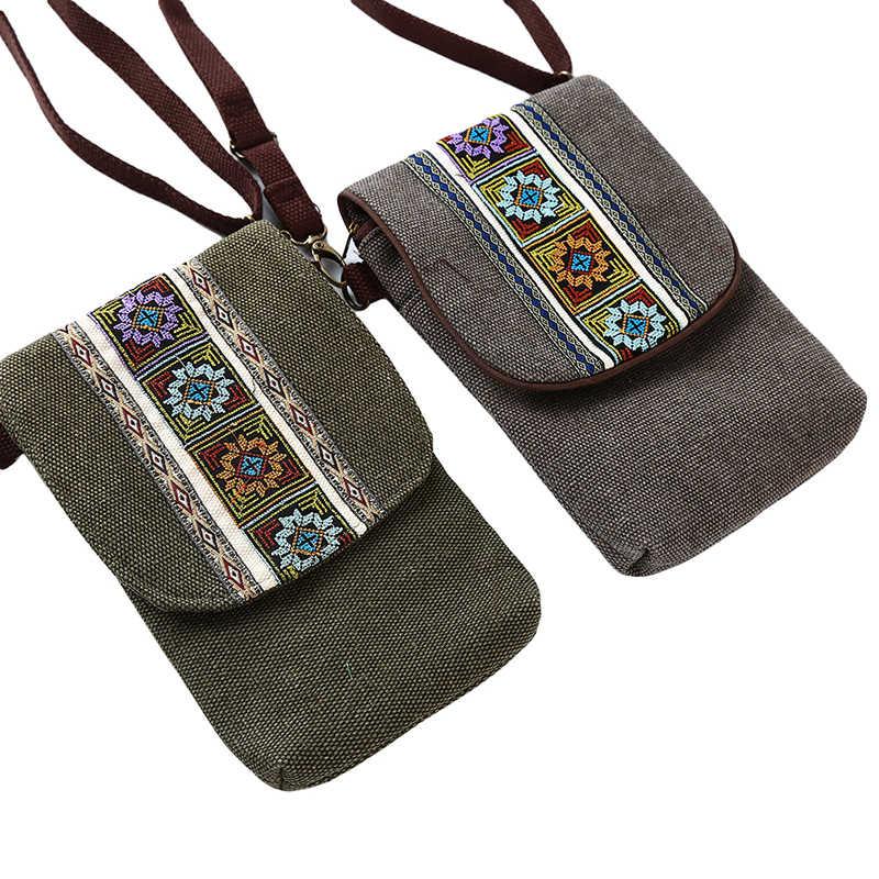 Phong Cách Bohemia Vải Lanh Nữ Cotton Nắp Bật Nhỏ Túi Đeo Vai Vintage Nữ Vải Bạt Mềm Thêu Dễ Thương Phím Điện Thoại Túi