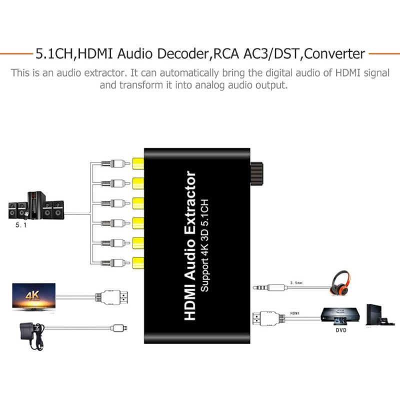 US $33 71 15% OFF|ALLOET 5 1CH HDMI Audio Extractor Decoder Coaxial to RCA  AC3 DST to 5 1 Amplifier Analog Converter Support 4K 3D for PS4 DVD on