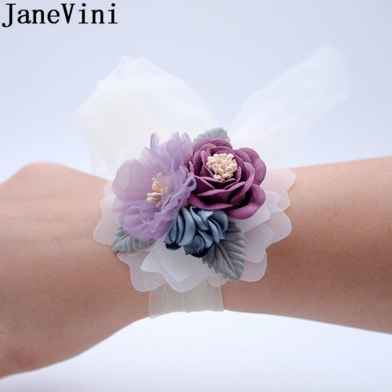 JaneVini Artificial Flowers Wedding Corsages Bridal Wrist Flower Leaf Wrist Band Bride Bridesmaid Bracelet Demoiselle D'honneur