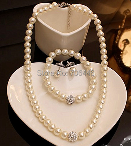 Womens Evening Jewelry Sets Ivory Pearl Necklace Bracelets Earrings with Crystal Ball