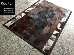 Custom Dark Brown 100% Pure Cowhides Carpet Netherlands Style No.RugFur-330