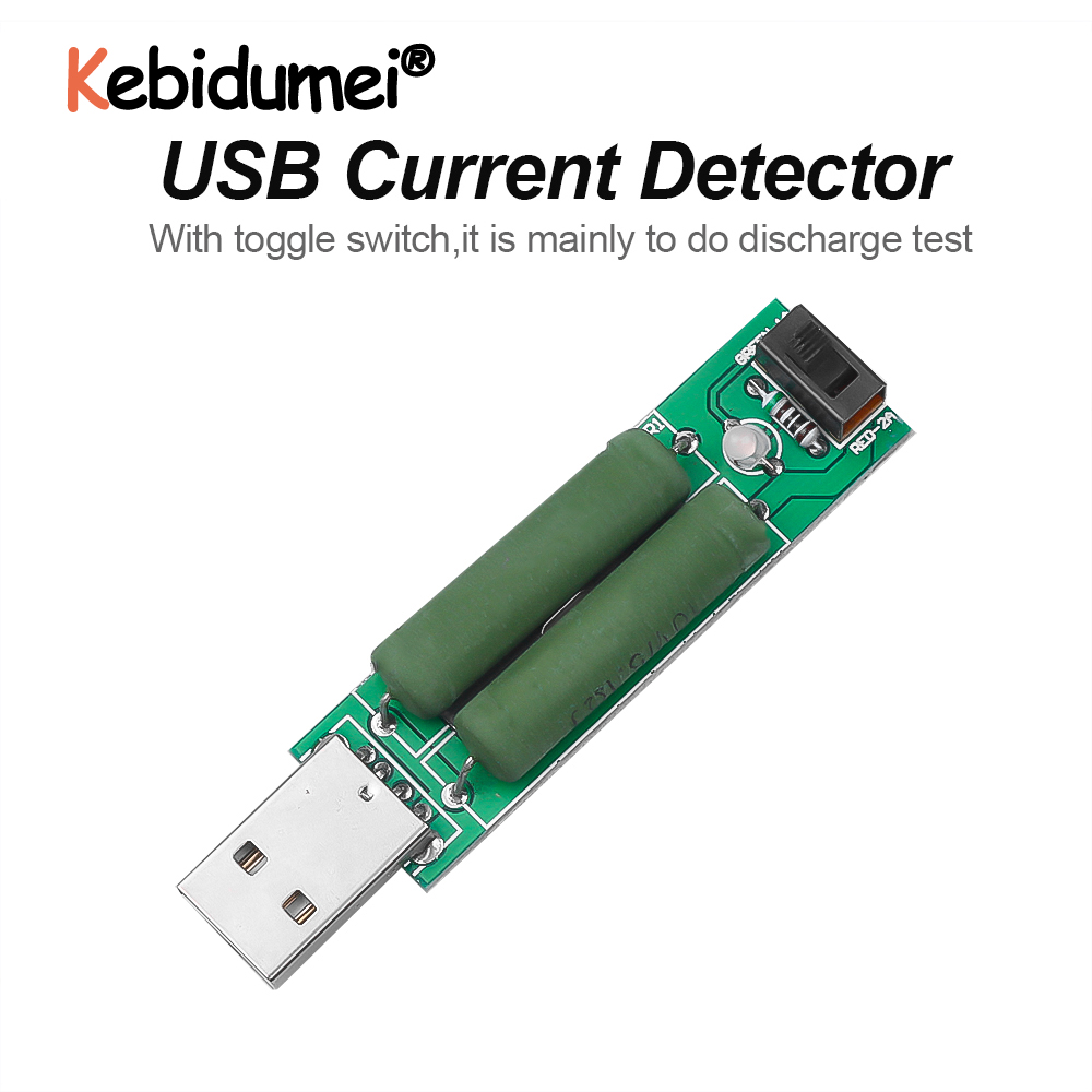 Mini USB Discharge Load Resistor With Switch 2A/1A Green 1Pcs