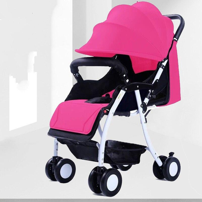 Baby stroller ultra light portable can sit reclining simple folding summer newborn baby stroller baby stroller ultra light portable shock absorbers bb child summer baby hadnd car umbrella