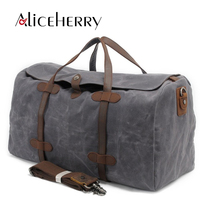 Vintage Waterproof Men Women Canvas Traveling Bag Large Capacity Casual Travel Duffel Tote Weekender Bag