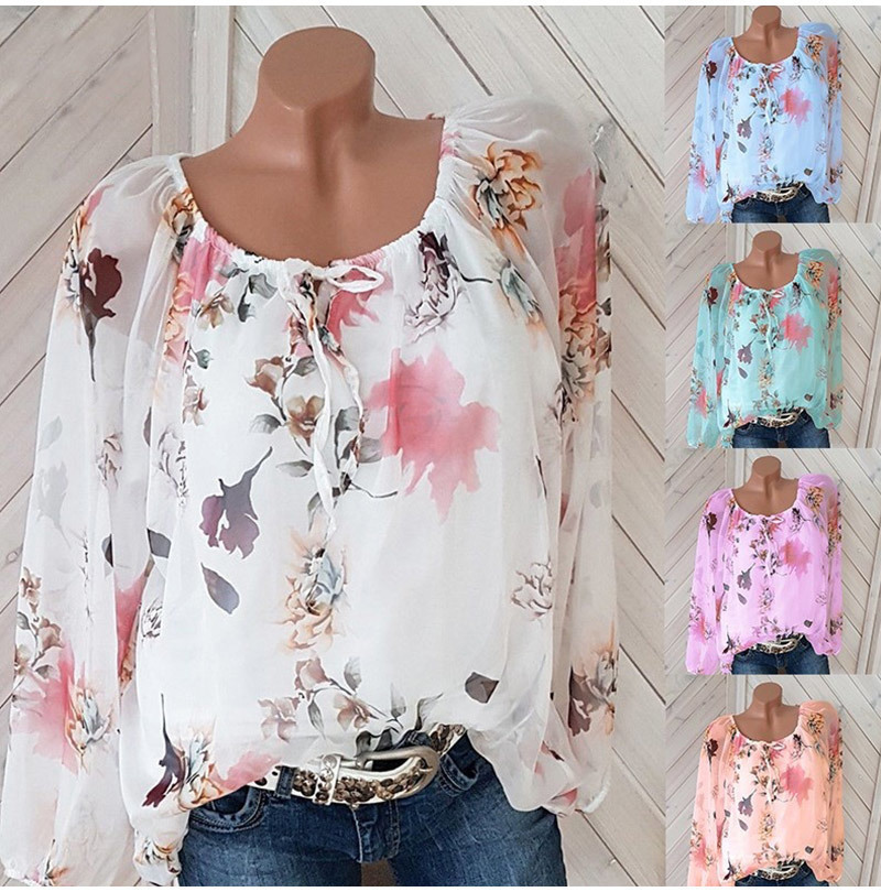 Chiffon Blouse Women Top No Lined Shirts Autumn Casual Slash Neck Bohemian Long Sleeve Ladies Sexy Print Blouse Femme Shirt
