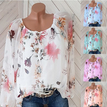 Chiffon Blouse Women Top No Lined Shirts