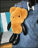 Fluffy Bunny Bear Keychain Rex Rabbit Fur Pompoms Key Chain Fur Pom Pom Keychain Charm Shoulder Bags Car Pendant Key Ring Holder