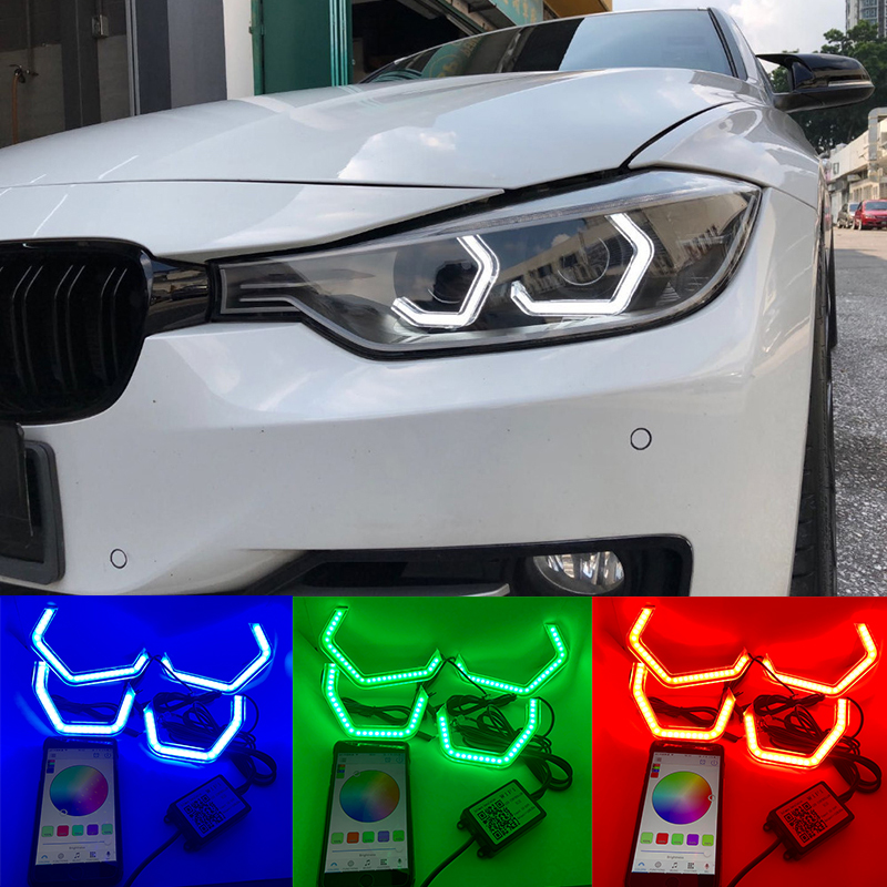 WIFI RVB Multi-couleur Concept M4 Emblématique Style Cristal LED Angel Eye Kits pour BMW 2 série M235i 220i 228i 218i M240i 230i 225i