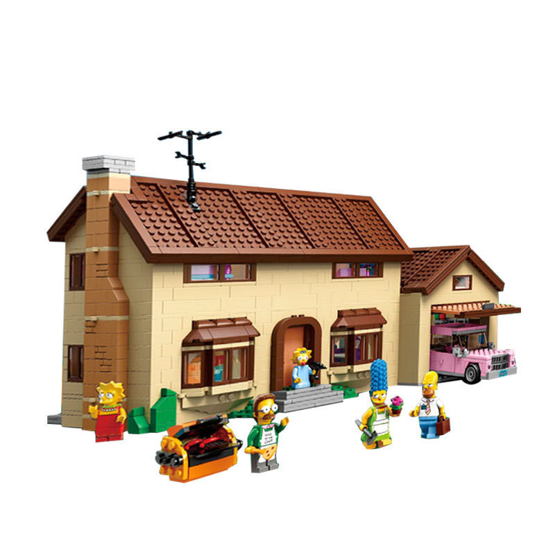 Simpsons House Model Building Block Bricks LEPIN 16005 2575Pcs Kits Educational Toys for Children Compatible 71006 Boy Gift lepin movie figures 16005 2575pcs the simpsons house model building kits blocks bricks educational kid toy compatible with 71006