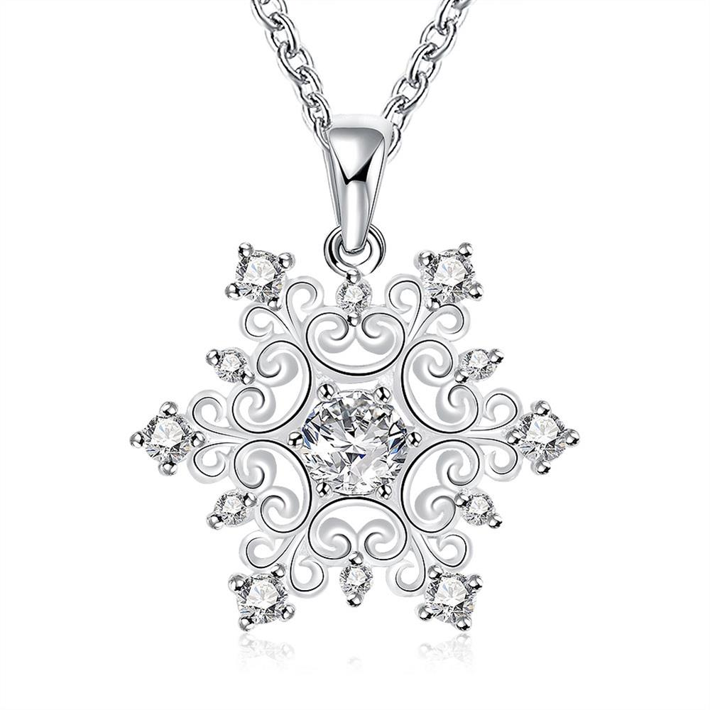 N771 Hot Sale Fashion Silver Plated AAA Zircon Snowflake Pendant Necklace,Fashion Silver 925 Jewelry Necklace For Women