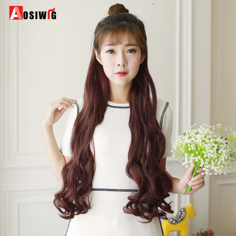 AOSIWIG 20/24/28 Long Curly 2 Clip In Hair Extensions 1 Piece Synthetic High Temperature Fiber For Women