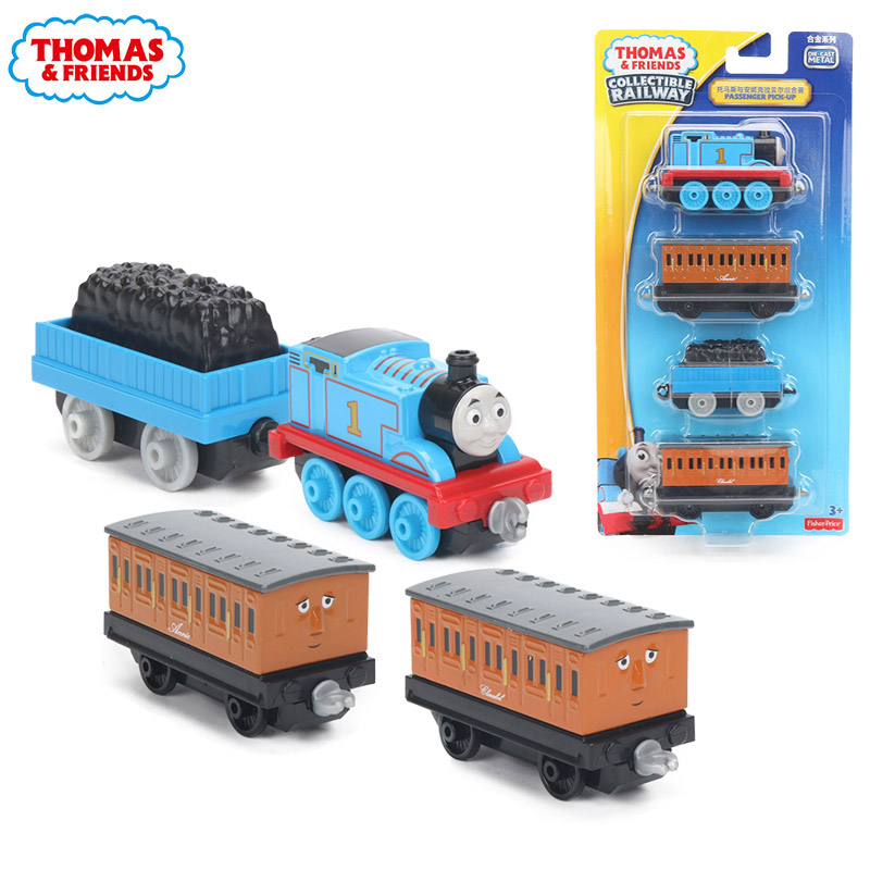 4pcs/box Thomas & Friends Collectible Wooden Railway Train Annie Clarabel Passenger Pick-up Crew Die Cast Trains Engines DGB79