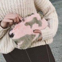 Frauen furly clutch abendtasche frau party rosa kupplungen geldbörsen Charme fell Kupplung Handtaschen day clutch