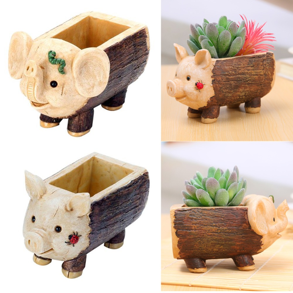 Phenomenal Us 6 81 18 Off Tree Stool Flowerpot Resin Succulent Plant Planters Pen Pots Holder Elephant Pig Shape Baby Flowerpot Home Garden Ornament In Flower Pabps2019 Chair Design Images Pabps2019Com