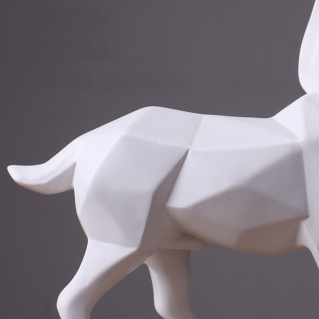 Hot Modern Abstract White/Gold Horse Statue Resin Ornaments Home Decoration Accessories Gift Geometric Resin Horse Sculpture