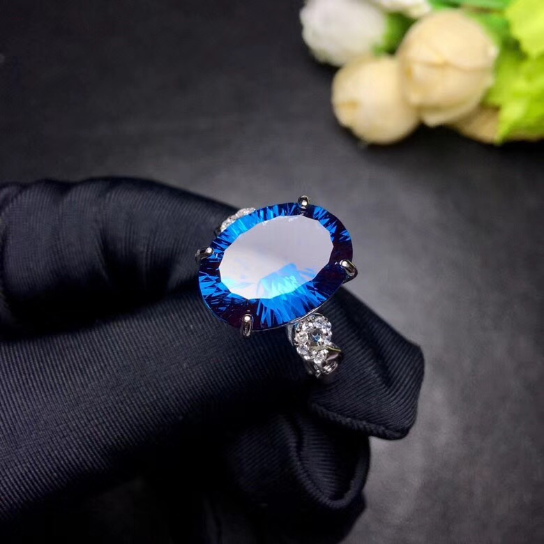 Bague topaze bleue naturelle Uloveido, pierres précieuses 10 carats, bagues en argent 925, bague de naissance, avec certificat et boîte-cadeau 20% FJ304 - 5