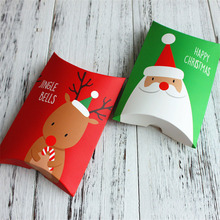 10pcs/lot Christmas Gift Box Green Pillow Shape Happy Christmas Candy Box Bag Red Color Paper Cookies Boxes Christmas Gift Bag