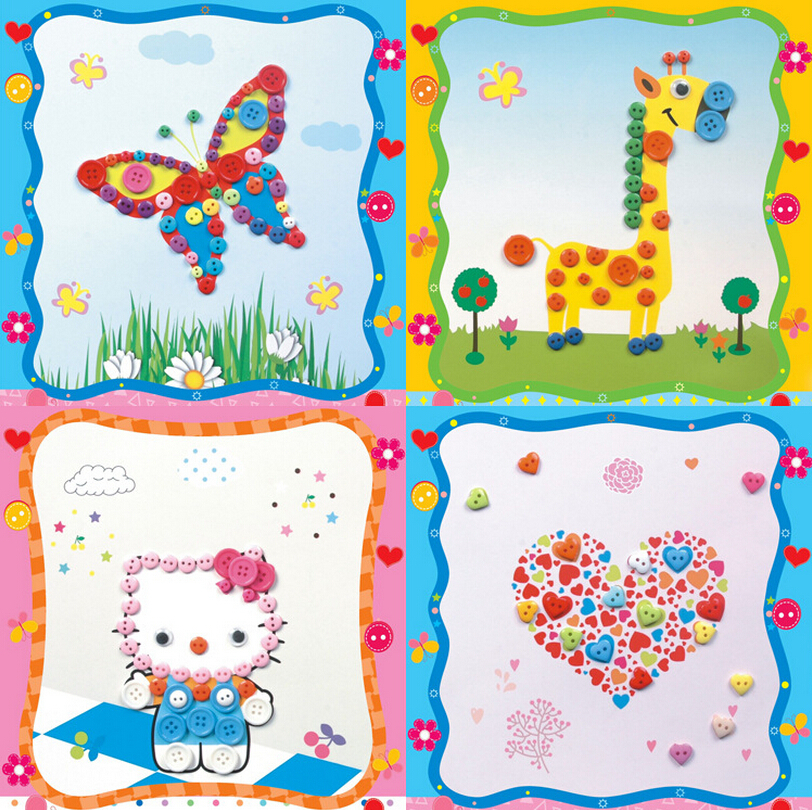 5pcs Lot Creative Buttons Painting Drawing Ability Develop Cute Animal Cartoon Tools Kids Toys Hello Kitty Princess Butterfly In From