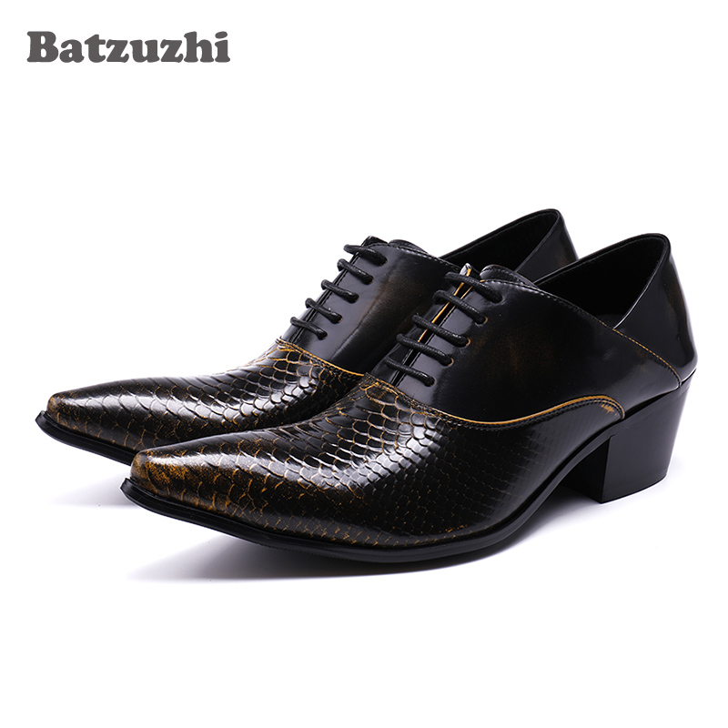 Batzuzhi 6.5CM Height Increased Men Shoes Pointed Toe Lacing Up Men Dress Shoes Leather Wedding & Party Zapatos Hombre, 38-46 batzuzhi handmade leather men dress shoes evening party wedding shoes skulls black fashion flats luxury zapatos hombre size 46