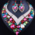 2017 Novo Coração Em Forma de Brincos Colar Declaração para As Mulheres Acessório Cor de Cristal de Vidro Do Casamento Africano conjuntos De Jóias de Noiva