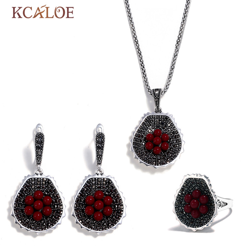 KCALOE Vintage Red Resin Ball Flowers Jewelry Set For Women Black Rhinestone Necklace And Earring Ring