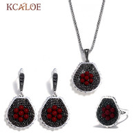 KCALOE Vintage Red Resin Ball Flowers Jewelry Set For Women Black Rhinestone Necklace And Earring Ring Jewellery Sets Bijoux