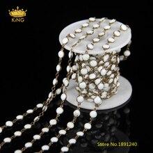 5 metros/lote venta, cristal blanco redondo cuentas Cadenas, rosario cadena lampwork Cuentas latón Alambres envuelto moneda Cadenas zj-29