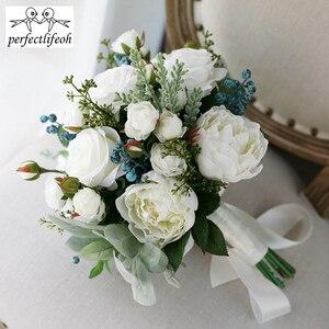 Image 2 - Perfectlifeoh 2020 חמה חתונה זר צמחים בשרניים ירוק מלאכותי זרי כלה נשים זר דה mariage