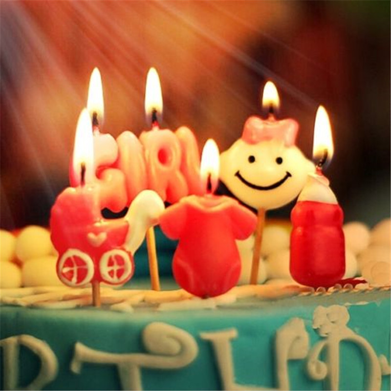 Happy Birthday Candles Toothpick Cake Party Decor Cute Baby Girl