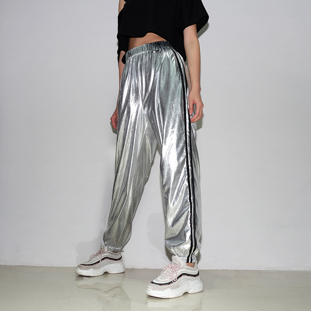 FBE&CDG Striped Pants Female Pocket Fashion Metal Style Full Length Streetwear Loose Harem Pants High Waist Stretch Trousers