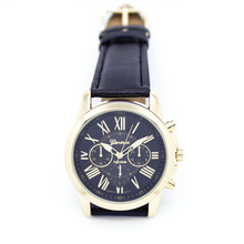 2016 CLAUDIA Hot sale Newly Design Women's Fashion Black Roman Numerals Faux Leather Analog Quartz Wrist Watch Relogio Feminino