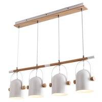 Modern Led Pendant Light Dining Room Light White Nordic Wood Kitchen Home Decoration 3 Head 4
