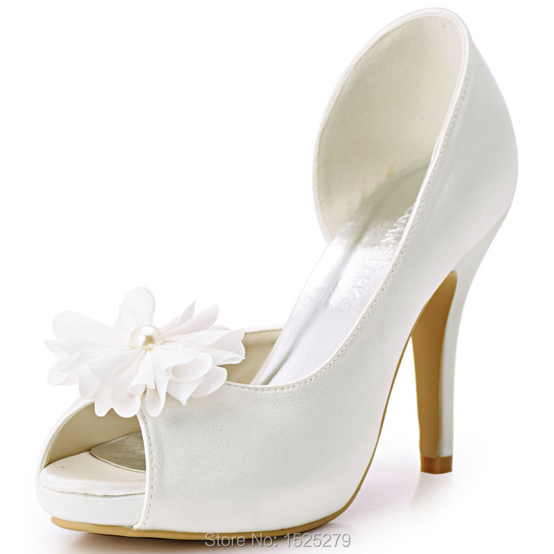 HP1560IAI White Ivory Woman Bride Bridesmaids Pumps Peep Toe Flower Platform High Heel Satin Wedding Bridal Dress Party Shoes hp1544i white ivory peep toe women wedding pumps ankle strap crystal buckle bride bridesmaids high heel satin bridal prom shoes