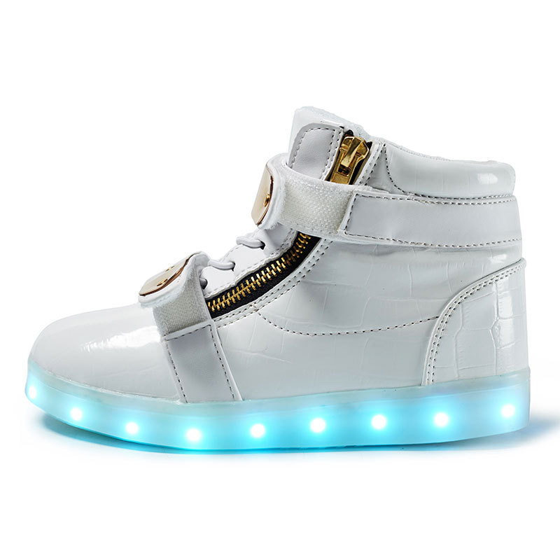 Slippers Led Kids Lighting Up Shoes Girls Boys Children Shoes with Light with USB Luminous Sneakers Glowing Shoes White joyyou brand usb children boys girls glowing luminous sneakers with light up led teenage kids shoes illuminate school footwear